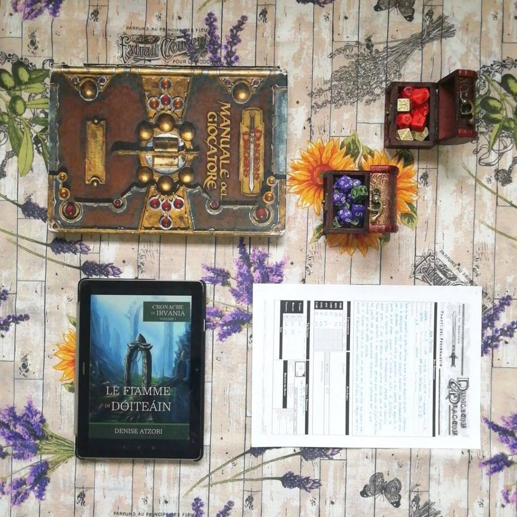 Manuale, scheda, dadi, libro