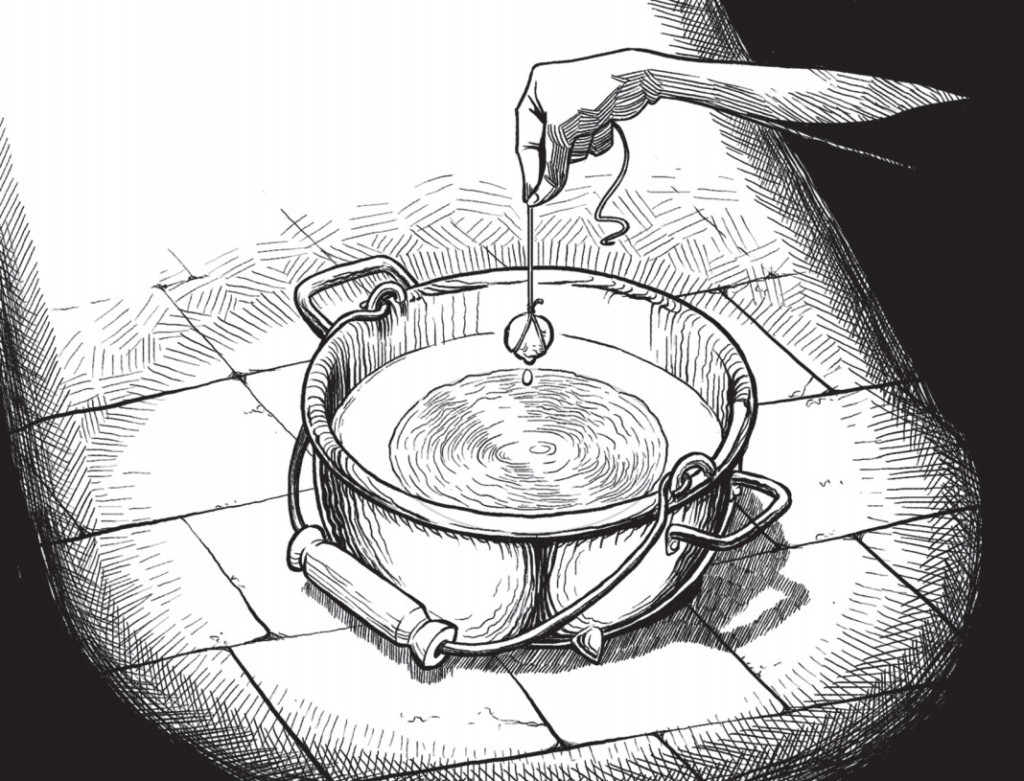 Auri prepara il sapone in un'illustrazione del romanzo