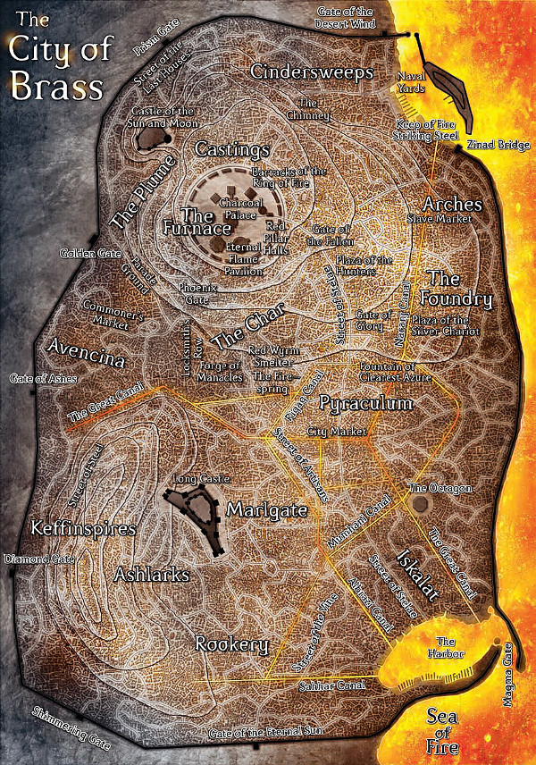Una cartina de La città di ottone